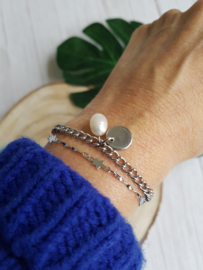 """Schakel Armband """"Pearly Coin"""" Stainless Steel"""