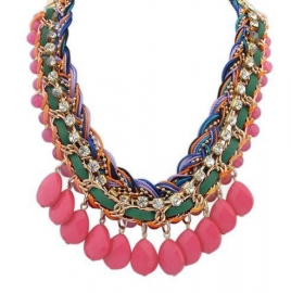 """Statement Ketting """"Braided With Light Pink Drops"""""""