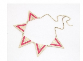 "Statement Ketting ""Pink& Gold Triangle"""