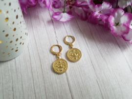 """Muntjes Oorbellen """"Golden Eye Coin"""""""