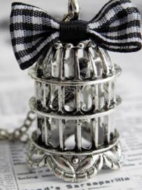 "Vogelkooi Ketting ""Vintage Silver Birdcage"""