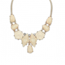 "Statement Ketting ""Cream Gemstone Drops"""