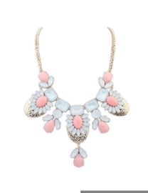 "Statement Ketting ""Pretty In Pink "" Lichtroze"