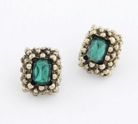 "Oorbellen ""Sophisticated Green Studs"""