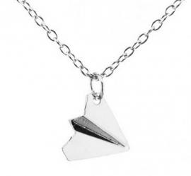 "Ketting ""Paper Airplane Origami"" Zilverkleur"