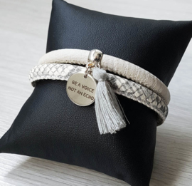 "Leren Armband ""Be A Voice"""