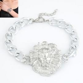 """Armband """"Lion Head"""" Zilverkleur"""