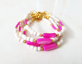 """Schelp Armband """"Pink Shell & Beads"""" Roze / Off White / Goud"""