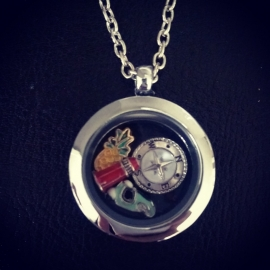 "Floating Locket Ketting ""Silver One"""