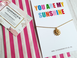 "Ketting Met Kaartje ""You Are My Sunshine"" Zilver Of Goud"