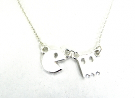 "Subtiele Ketting ""Pacman"" Silver Plated"