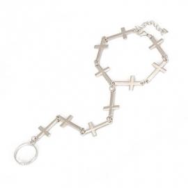 """Armband & Ring Sieraad """"Connected Crosses"""" Zilverkleur"""