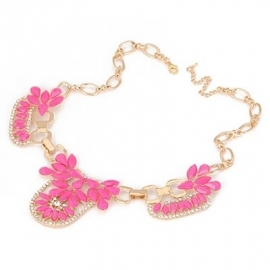 "Statement Ketting ""Neon Flower"" Roze"