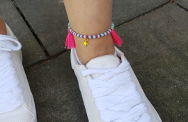 """Enkelbandje """"Turquoise & Pink"""""""
