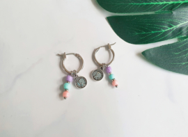 "Pastel Oorbellen ""Candy Colors & Coins"""