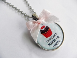 "Ketting ""Cupcake Makes Me Happy"" Blauw"
