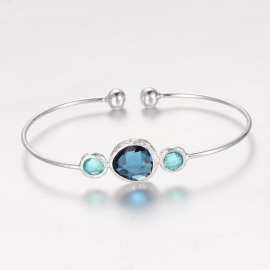 "Armband ""Silver Plated Stone Bangle""Blauw"