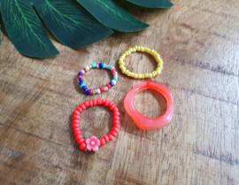 """Ringen Set """"Red, Coral & Yellow"""" 4 Stuks"""