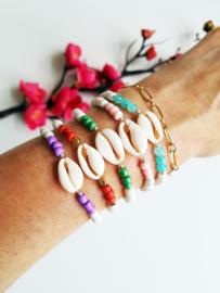 "Schelp Armband ""Lilac & White"""