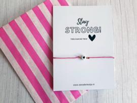 """Wish Armbandje Met Kaartje """"Stay Strong"""" Keuze uit veel kleuren"""