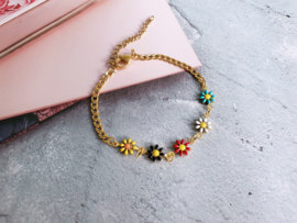 "Bloemen Armband ""Colorful Daisies"" Stainless Steel"