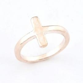 """Kruis Ring """"Simple Cross"""" Rose Gold Kleur"""