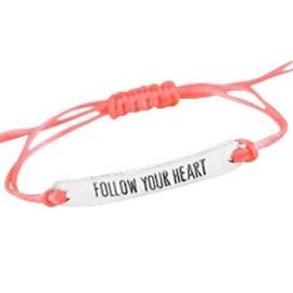 "Beach Armband ""Follow Your Heart"" Coral"