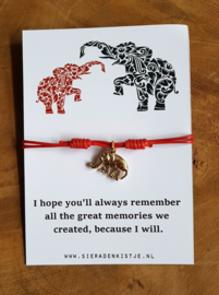 "Wish Armband ""Red Elephant"""