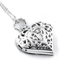 "Horloge Ketting ""Open Your Carved Heart"" Zilver"