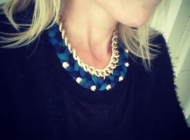 "Statement Ketting ""Blue Braids"""