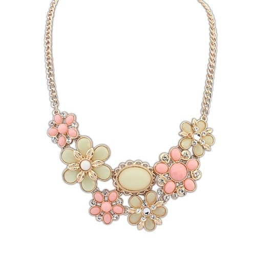 """Statement Ketting """"Clustered Flowers"""" Pastel"""