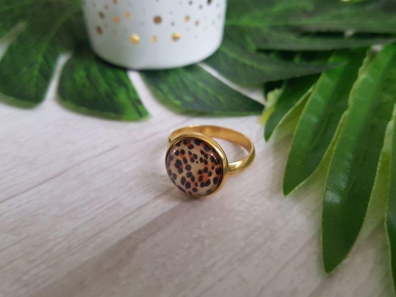 """Luipaard Ring """"Leopard Print"""" Stainless Steel"""