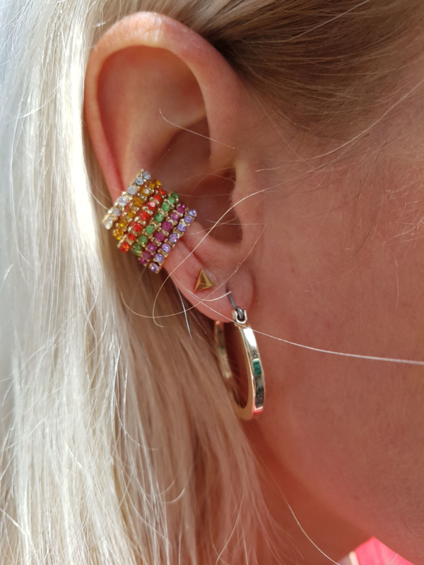 "Ear Cuff ""Colorful Stones"" (worden per stuk verkocht)"