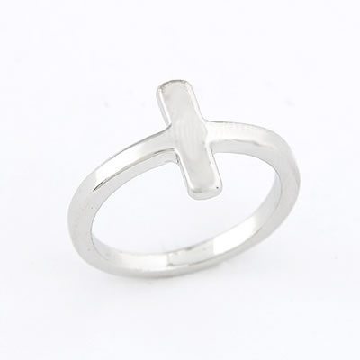 "Kruis Ring ""Simple Cross"" Zilverkleur"