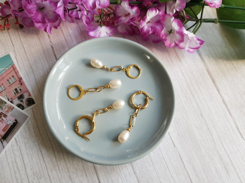 "Parel Oorbellen ""Golden Pearls"" Stainless Steel"