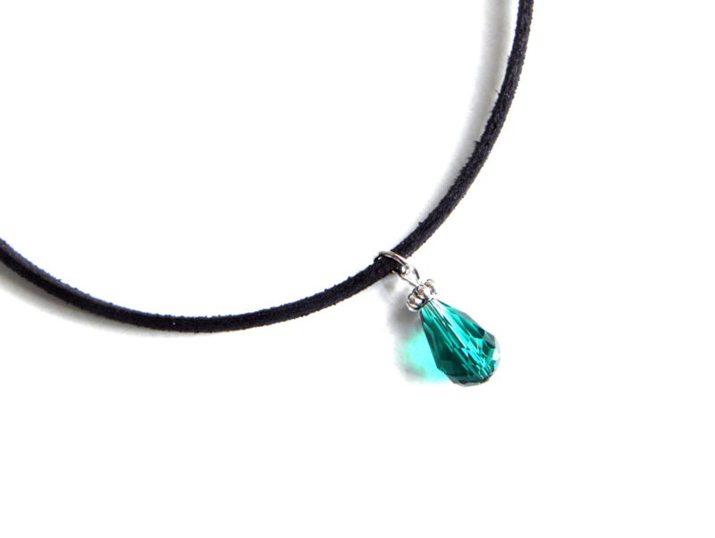 "Choker Ketting ""Green Glass Drop"""
