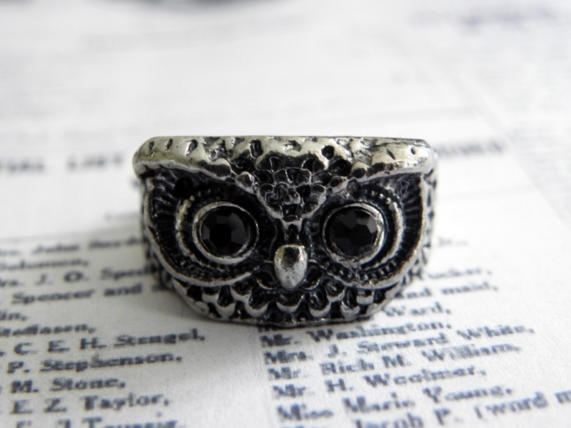 "Zilverkleurige Ring ""Owl Face"""