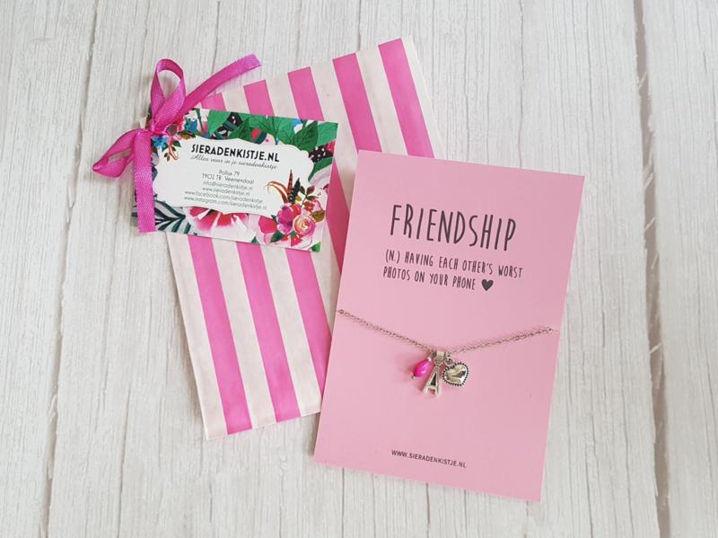 """Vriendschaps Letter Ketting """"Love You"""" Met Kaartje Naar Keuze"""