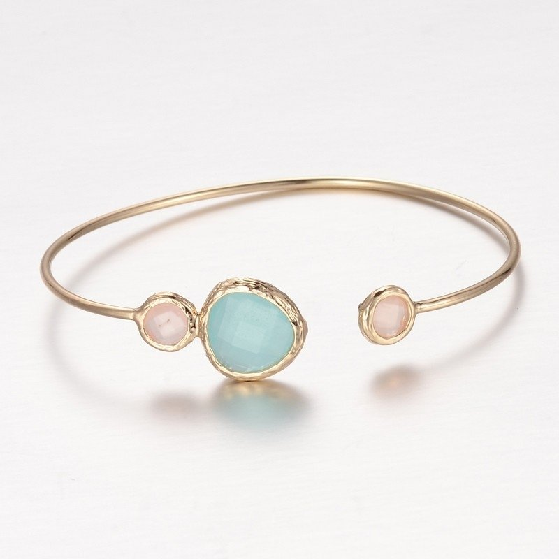 """Armband """"Gold Plated Stone Bangle"""" Aquamarine"""
