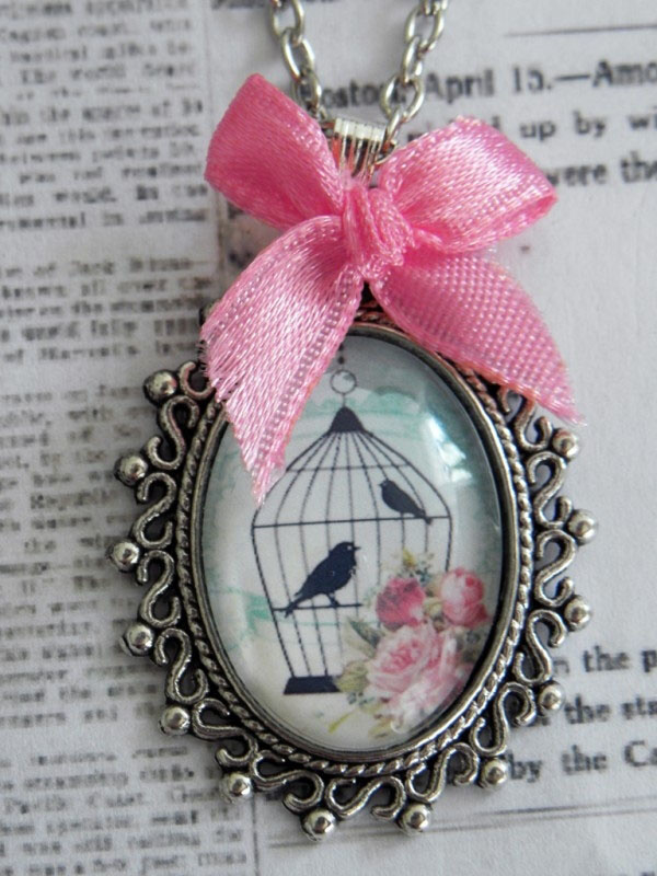 """Ketting """"In A Glass Bird Cage"""" Blue"""