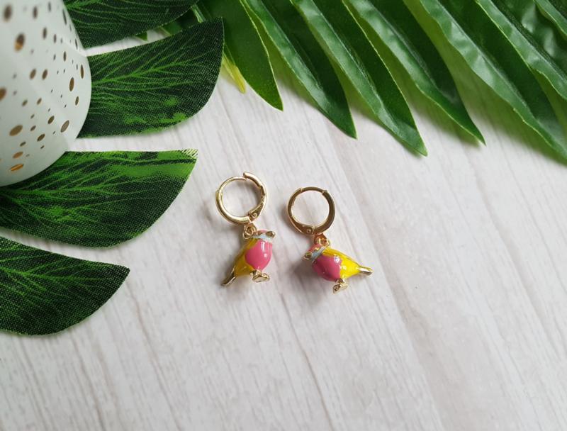 """Vogel Oorbellen """"Pink & Yellow Bird"""""""
