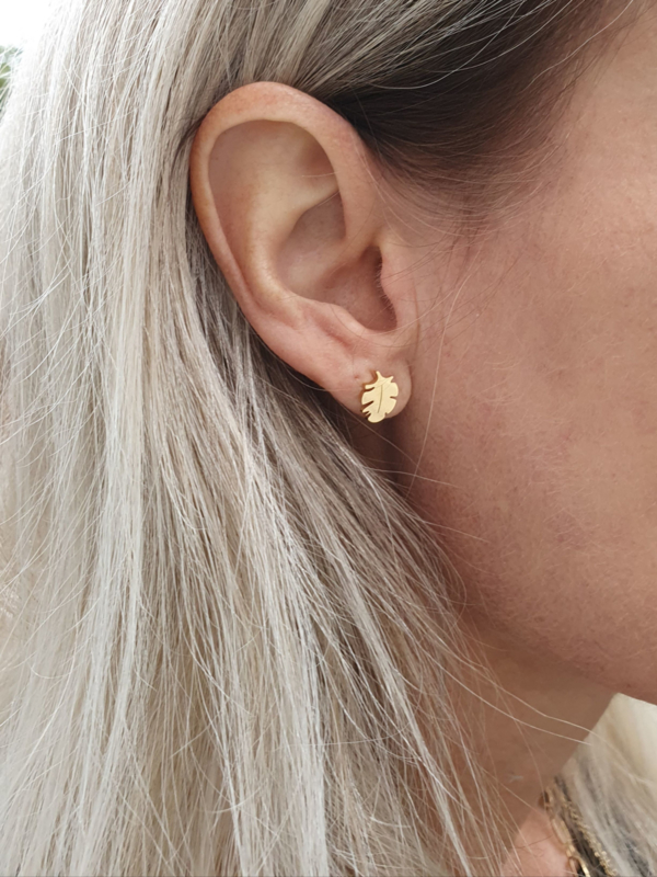 """Oorstuds """"Gold Feather"""" Stainless Steel"""