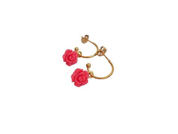 """Bloem Oorbellen """"Pink Rose Hoops"""" Stainless Steel / Goud"""