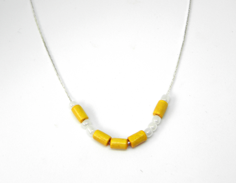 """Ketting """"Love In Morse Code Yellow / White"""" Silver Plated"""