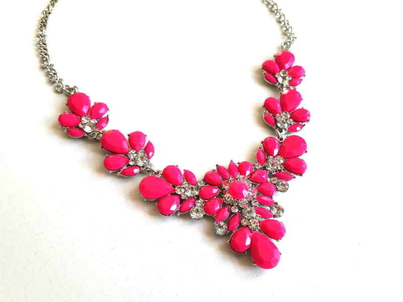 "Statement Ketting ""Pink Panther"" Roze"