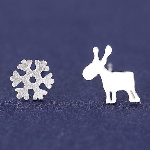 "Oorbellen ""Tiny Snowflake & Deer"""