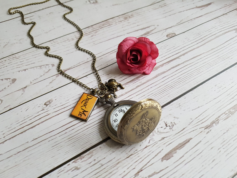 "Alice In Wonderland Zakhorloge Ketting ""White Rabbit"" Medium"