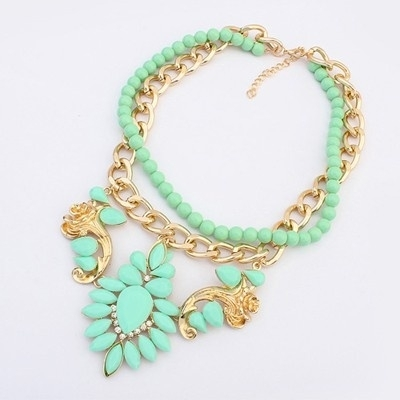 "Statement Ketting ""Mint Stones & Beads"""