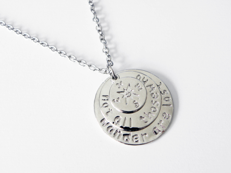 "Kompas Ketting ""Not All Those Who Wander Are Lost"""