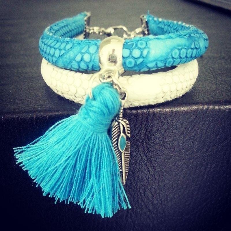 """Ibiza Armband """"Blue & Ivory Grey"""""""